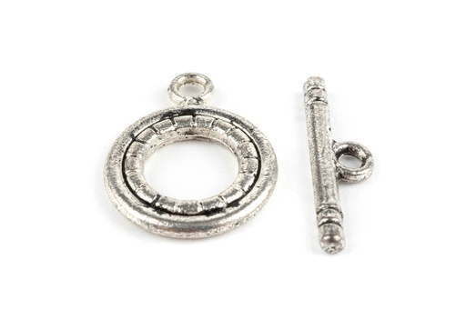 [91205] Pewter Toggle - 3 Strand Twisted Design Silver