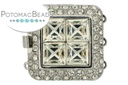 Claspgarten Clasp Square Crystals 3-Strand Silver (Rhodium Plated)