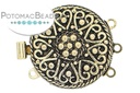 Claspgarten Clasp Heart Filigree 3-loop (Antique 23kt Gold Plated)