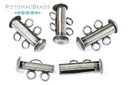 Tube Clasps 2-Strand Antique Silver (4 pack)