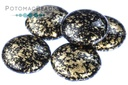 2-Hole 18mm Cabochons - Jet Gold Splash