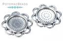 Cabochon Bezel Round 14mm Flower - Antique Silver