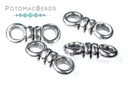2-Hole Knot Bead - Antique Silver