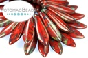 2-Hole Dagger Beads - Opaque Red Picasso 5x16mm