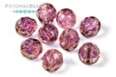 Czech Faceted Round Beads - Pink Luster 8mm