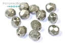 Czech Faceted Round Beads - White Gray Luster 6mm