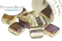 Czech 2-Hole Tile Beads - Crystal Azuro 6mm (closeout)
