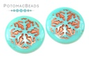 Czech Cabochon - Snowflake Jade Bronze Wash 21mm