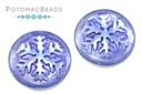 Czech Cabochon - Snowflake Backlit Lt Sapphire Purple Wash 21mm