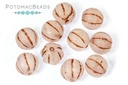 Melon Beads - White Opal Matted Copper Wash 8mm