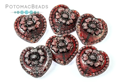 [63762] Folklore Heart - Ruby Dark Gunmetal Wash 17x17mm