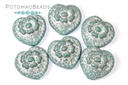 Folklore Heart - Silver Painted Jade Etched 17x17mm