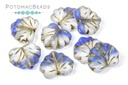 Czech Maple Leaf Beads - Matted Blue Tip Gold Wash