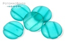 2-Hole 18mm Cabochons - Light Teal Matted