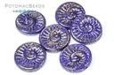 Fossil Shell Beads - Opaque Blue Teracota Purple