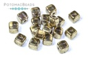 Czech Cube Beads - Crystal Gold Luster