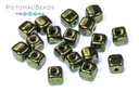 Czech Cube Beads - Jet Red Luster