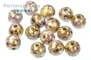 RounDuo Beads - White Lila Gold Luster 5mm