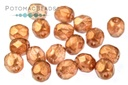 Czech Faceted Round Beads - Golden Touch Tangerine 4mm