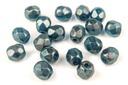 Czech Faceted Round Beads - Golden Touch Celestian Blue 4mm