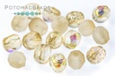 Czech Faceted Round Beads - Etched Yellow Rainbow 4mm