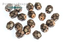 Czech Faceted Round Beads - Snake Salmon 4mm