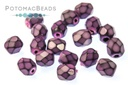 Czech Faceted Round Beads - Snake Lilac 4mm