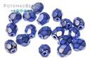 Czech Faceted Round Beads - Snake Cobalt Blue 4mm
