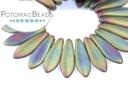 2-Hole Dagger Beads - Matte Green Iris 5x16mm