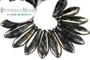 2-Hole Dagger Beads - Jet Bronze Picasso 5x16mm