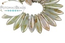 2-Hole Dagger Beads - Opaque Ultra Green Luster 5x16mm