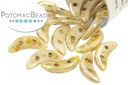 Crescent Beads - White Picasso (Opaque Luster)