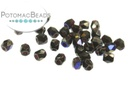 Czech Faceted Round Beads - Jet Azuro 2mm