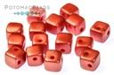 Crisscross Cube Beads - Pastel Dark Coral (closeout)