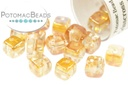 Crisscross Cube Beads - Crystal Orange Rainbow 4mm (tube) (closeout)