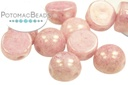 2-Hole Cabochon Beads 6mm - White Lila Luster