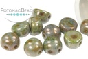 2-Hole Cabochon Beads 6mm - White Blue Luster