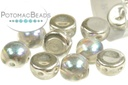 2-Hole Cabochon Beads 6mm - Crystal Silver Rainbow