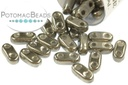 2-Hole Bar Beads - Crystal Full Chrome 2x6mm