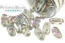 2-Hole Bar Beads - Crystal Silver Rainbow 2x6mm