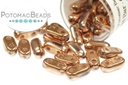 2-Hole Bar Beads - Full Capri Gold 2x6mm