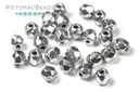 Czech Faceted Round Beads - Glittery Silver 3mm