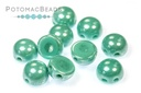 2-Hole Cabochon Beads 6mm - Jade Shimmer