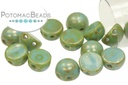 2-Hole Cabochon Beads 6mm - Jade Picasso