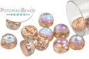 2-Hole Cabochon Beads 6mm - Etched Copper Rainbow