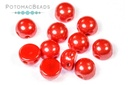 2-Hole Cabochon Beads 6mm - Opaque Red Shimmer