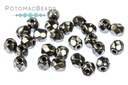 Czech Faceted Round Beads - Jet Full Chrome 3mm