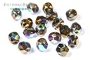 Czech Faceted Round Beads - Etched Glittery Bronze 4mm