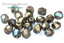 Czech Faceted Round Beads - Glittery Graphite Matted 4mm