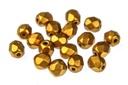 Czech Faceted Round Beads - Metallic Brass 4mm
